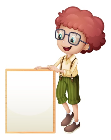 Illustration of a young boy holding an empty frame on a white background Vector