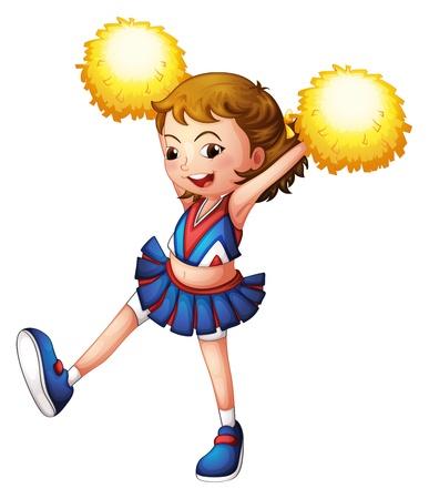 cheer leader: Ilustraci�n de una animadora con pompones amarillos sobre un fondo blanco