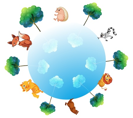 lion dog: Illustration of the representation of the earth with animals and plants on a white background