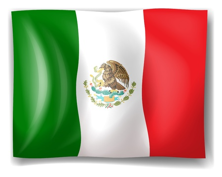 illustraiton: Ilustraci�n de la bandera de M�xico sobre un fondo blanco