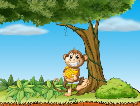 Illustration of a monkey with bananas near a tree with vine plants Vectores
