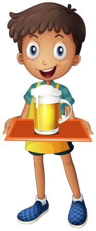 underage: Illustration of a young boy holding a tray with a mug of beer on a white background