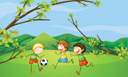 kids playing sports: Illustration of the kids playing football