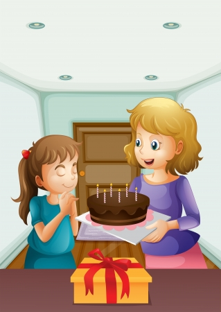 Illustration of a girl wishing before blowing her birthday cake Vector