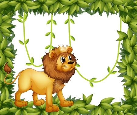 Illustration of a king lion in a leafy frame Vector