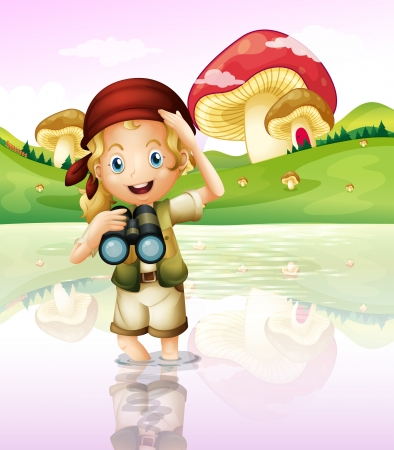 Illustration of a girl at the lake with her telescope Vector