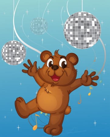 picutre: Illustration of a baby bear dancing