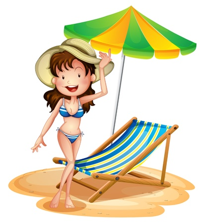 swims: Illustration of a girl near a foldable beach bed and umbrella on a white background