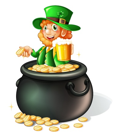 irish beer: Illustration of a pot with coins and an old man with a mug of beer on a white background