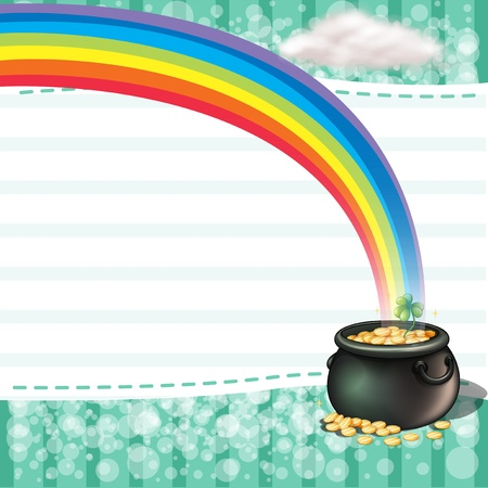 golden pot: Illustration of a pot full of coins with a clover plant