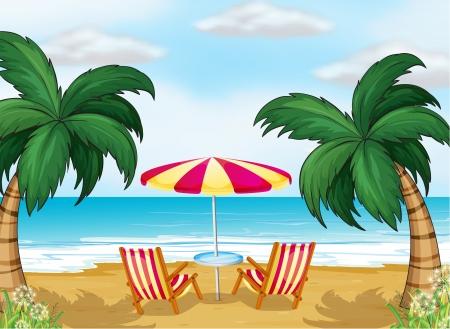 Illustratie van het uitzicht op het strand met een parasol en stoelen