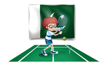 picutre: Illustration of a tennis player in front of the flag of Pakistan on a white background Illustration
