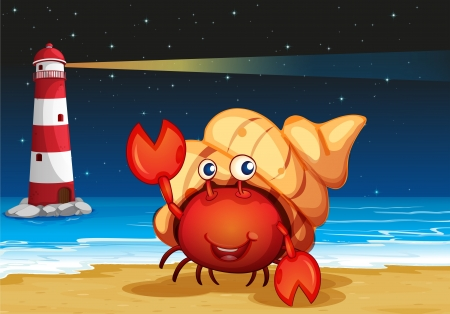 seafoods: Illustration of the sea creatures at the beach with a lighthouse Illustration