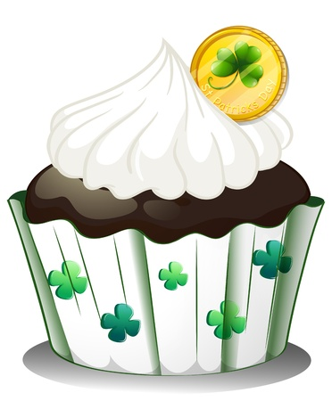 Illustration of a chocolate cupcake with a token on a white background Stock Vector - 18389681