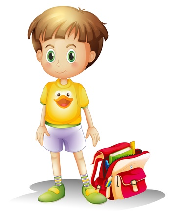 Illustration of a young boy with his school bag on a white background Stock Vector - 18390513
