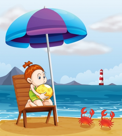 Illustration of young girl holding a beach ball at the beach Vector