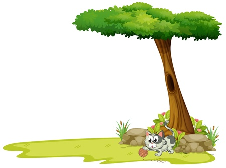 Illustration of a gray cat playing with a string ball under a tree on a white background Vector