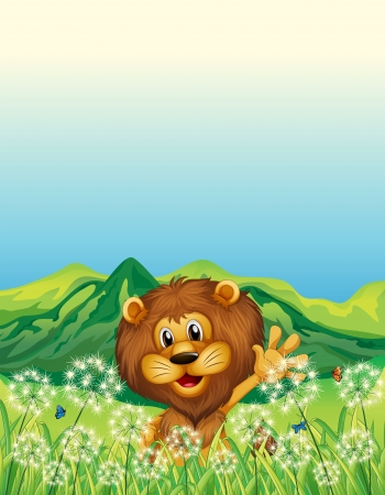 Illustration of a lion waving his hand near the weeds Illustration