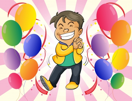 Illustration of a very happy man with balloons Stock Vector - 18390264