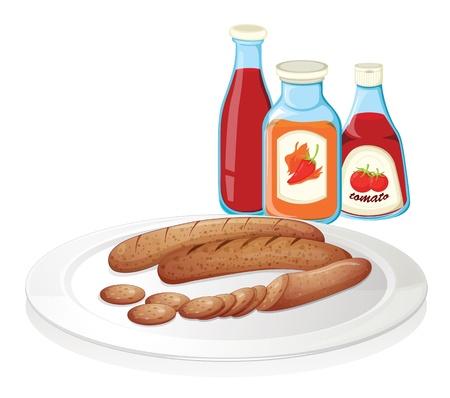 Ilustración de una placa de salchicha con ketchup en un fondo blanco