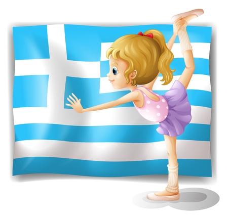 tanzen cartoon: Illustration der Flagge von Griechenland mit einer Ballett-Tänzerin auf weißem Hintergrund