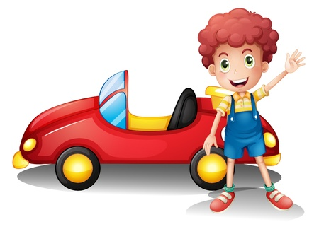 Illustration of a young boy in front of a red car on a white background Vector