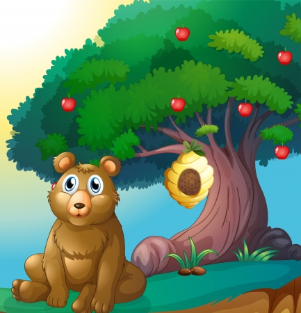 Illustration of a bear in front of a big apple tree with a beehive Vector
