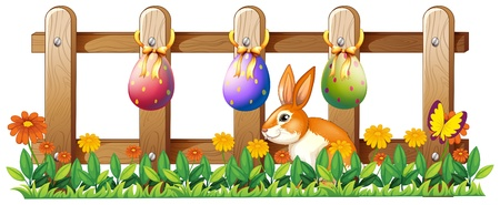 garden fence: Illustration of the Easter eggs at the fence and a bunny on a white background