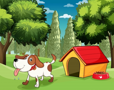 kennel: Illustration of a dog with a doghouse and a dogfood near the trees Illustration