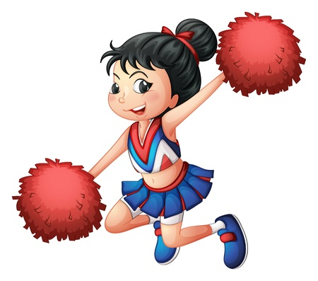 Illustration of a cheerleader dancing on a white background Vector