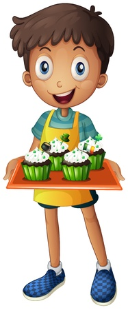 Illustration of a young boy holding a tray with cupcakes on a white background Stock Vector - 18390260