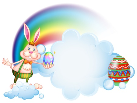 Illustration of a bunny holding an egg near the rainbow on a white background Stock Vector - 18390196