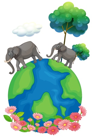 picutre: Illustration of the two elephants walking at the earths surface on a white background