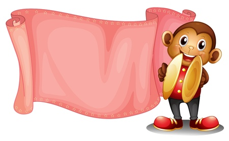 picutre: Illustration of a pink empty banner with a monkey on a white background Illustration