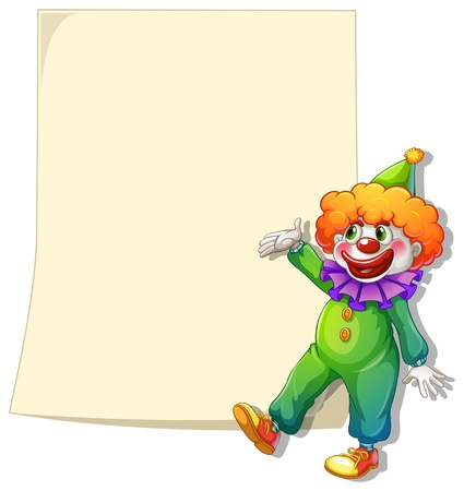 Illustration of an empty space with a clown on a white background Vector