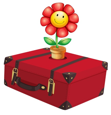 Illustration of a red travelling bag with a plant on a white background Vector