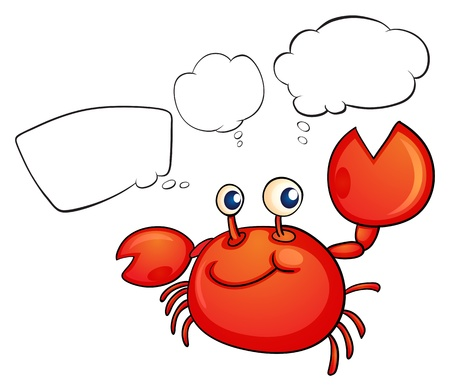 Illustration of a red crab thinking on a white background Vector