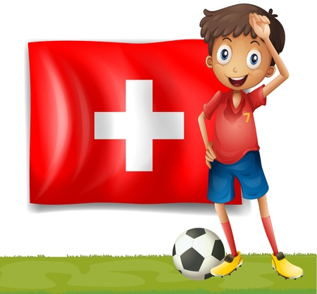 Illustration of a football player in front of the flag of Switzerland on a white background Stock Vector - 18390341