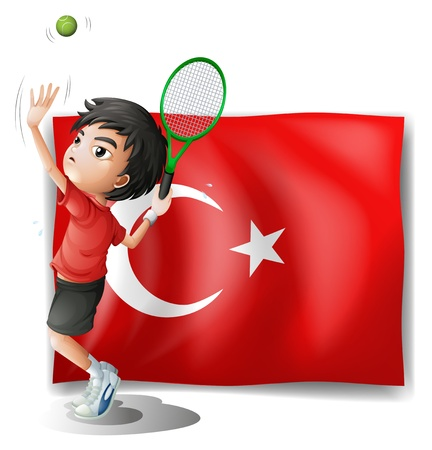 Illustration of a tennis player in front of the flag of Turkey on a white background Vector