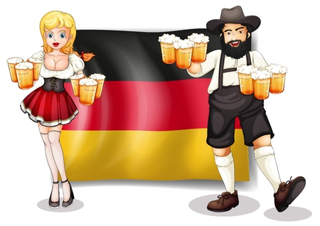 Illustration of the flag of Germany with a man and a woman on a white background Illustration