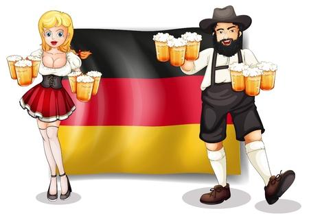 Ilustración de la bandera de Alemania con un hombre y una mujer en un fondo blanco Ilustración de vector