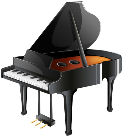 piano key: Illustration of a musicians piano on a white background