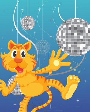 Illustration of the tiger and the disco lights Vettoriali