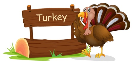 Illustration of a wooden signage with a turkey on a white background Vector