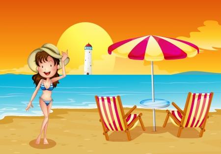 parola: Illustration of a girl at the beach across the lighthouse Illustration