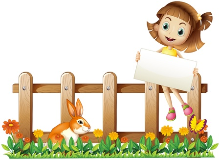Illustration of a girl sitting at the fence with an empty board on a white background Vector