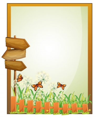 pic  picture: Illustration of a framed empty signage with wooden arrowboards on a white background