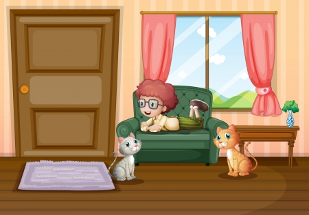Illustration of a young boy and his cats inside the house