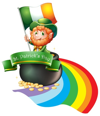 patron saint of ireland: Illustration of a man with a flag inside a big pot full of coins on a white background