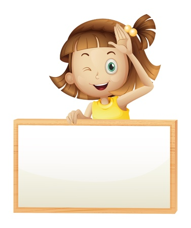 cute girl cartoon: Illustration of a girl blinking her eye holding an empty board on a white background